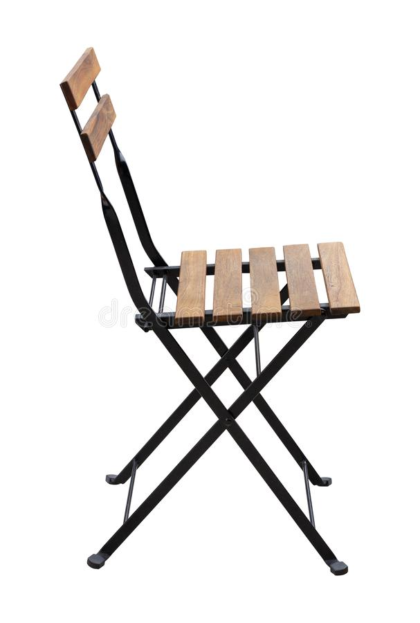 Side View of Metal Chair with Wooden Seat Isolated on White. Background with Clipping Path stock photography