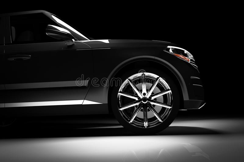Side view of modern black SUV car in a spotlight vector illustration