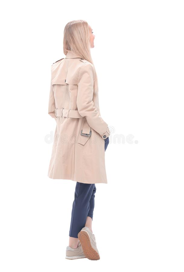 Side view. modern business woman looking at copy space stock photography
