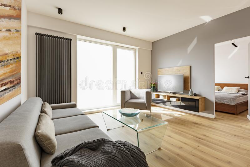 Side view of a modern living room interior with a sofa, armchair. Glass table, tv and door to bedroom Photo concept stock image