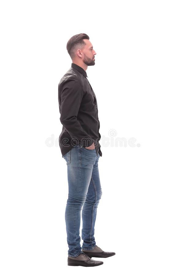 Side view. modern young man in jeans stock images