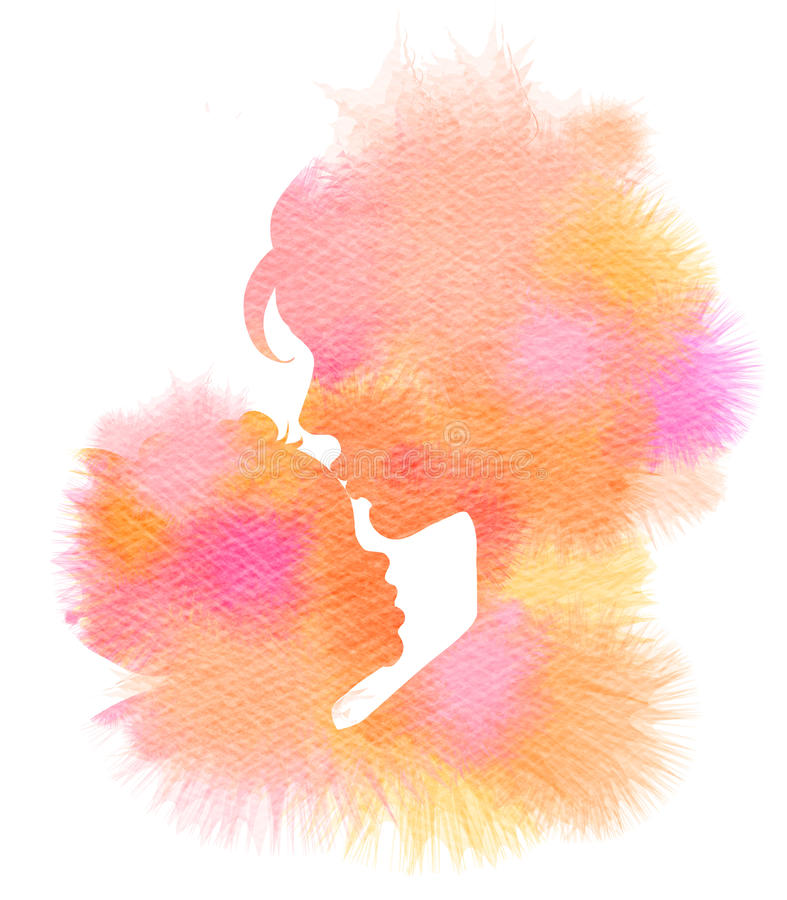 Side view of mother kissing her baby. Double exposure illustration. Mother and baby silhouette plus abstract water color painted. Digital art painting stock illustration