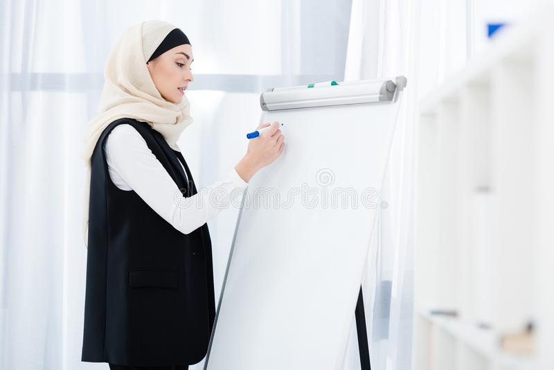 Side view of muslim businesswoman. Making notes on white board in office royalty free stock photo