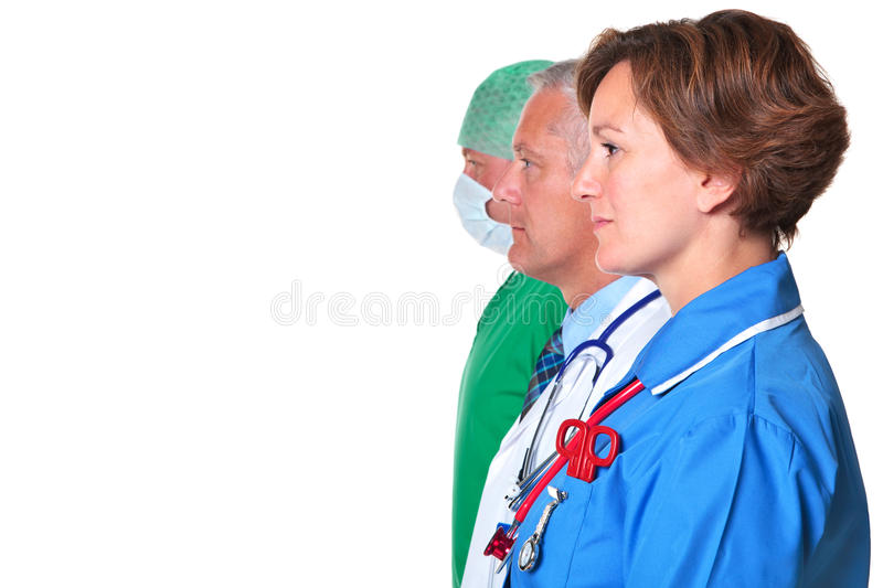 Side view of a Nurse Doctor and Surgeon stock photos