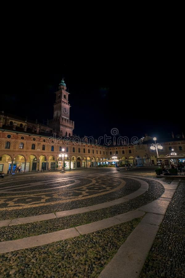 Free Side View Of The Tower Of Vigevano Stock Photography - 124355162