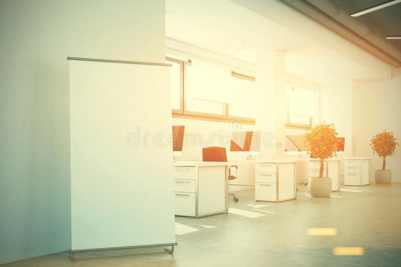 Open Space Office, A Banner, White Walls Toned Stock Illustration ...