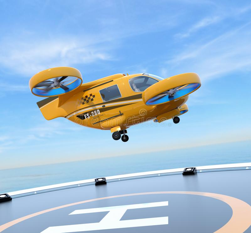 Side view of orange Passenger Drone Taxi takeoff from helipad. 3D rendering image royalty free illustration