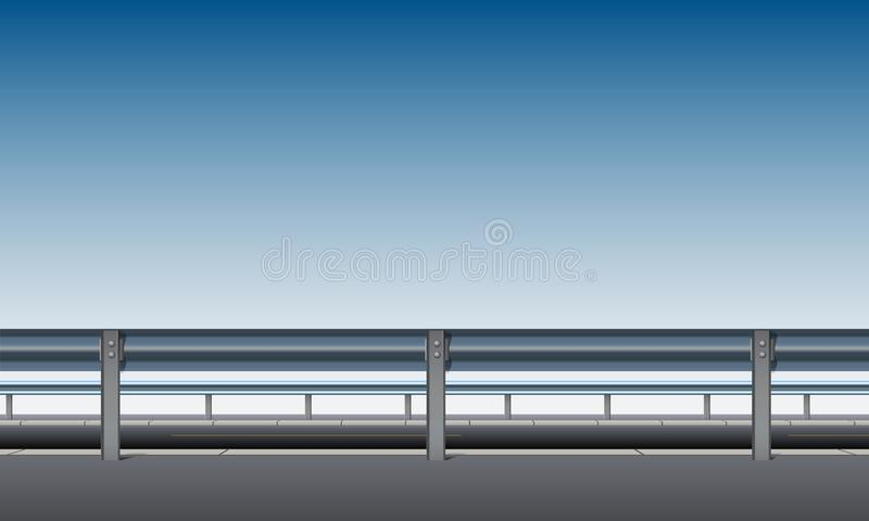 Side view of the overpass, bridge road with a crash barrier, blue sky background, roadside, vector illustration. Side view of the overpass, bridge, road with a stock illustration
