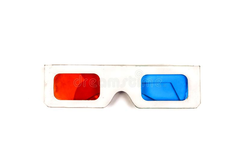 Side view of a pair of 3D glasses Isolated on white background. Cardboard, red, movie, blue, entertainment, fun, paper, film, theater, stereo, cinema, plastic royalty free stock photography