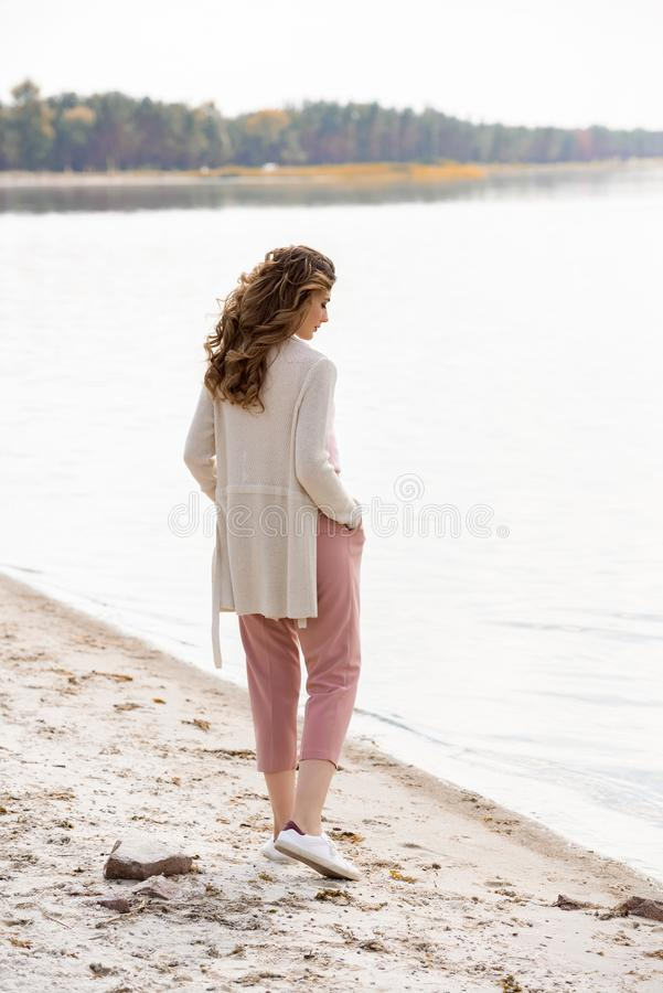 side view of pensive woman royalty free stock image