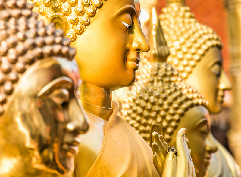 Golden Buddha Statues - Close Up Perspective. Side view of perfect golden buddha statue with selective focus on the second one royalty free stock photos