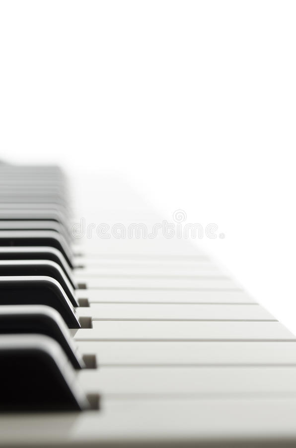 Side view of piano keyboard royalty free stock image