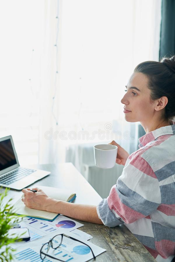 Pensive Woman Working at Home stock photos