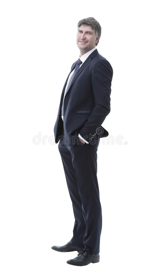 Side view. Portrait of successful businessman stock photography