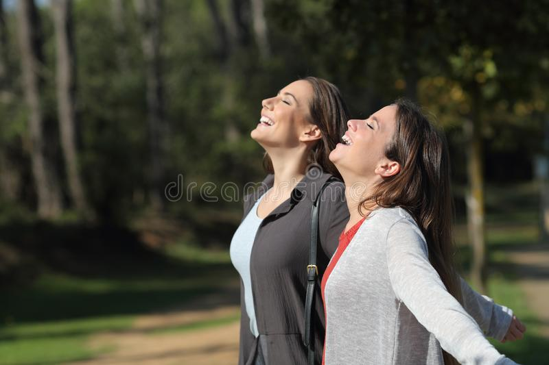 Two happy friends breathing fresh air together royalty free stock photo