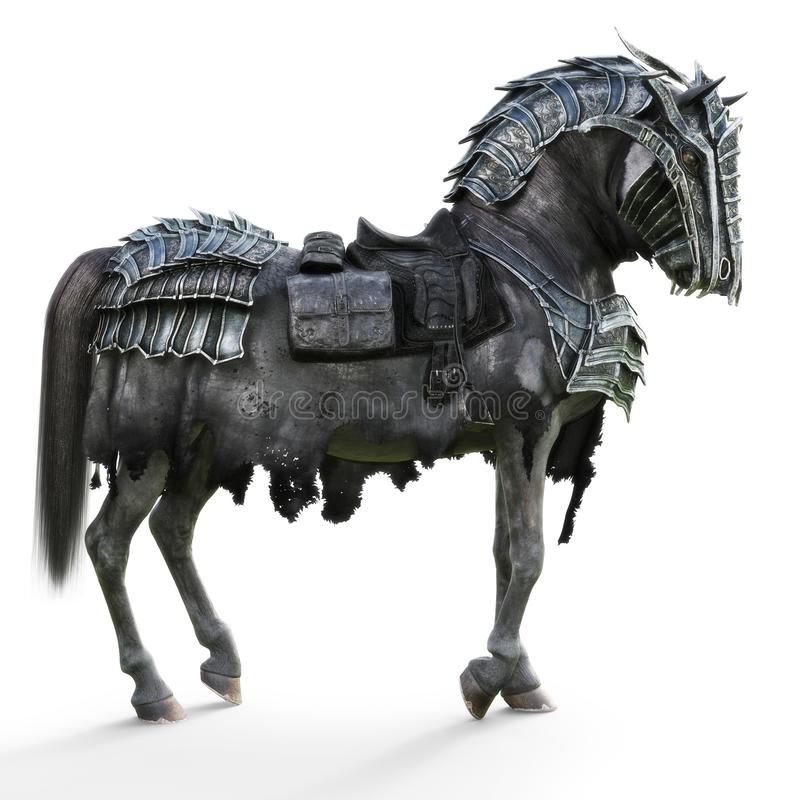 Side view of a posing armored war horse on a isolated white background. 3d rendering vector illustration