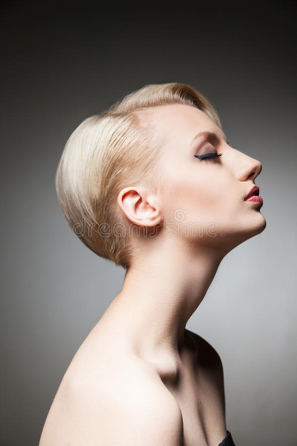 Side View Of Pretty Model With Blonde Short Hair And Eyes ...