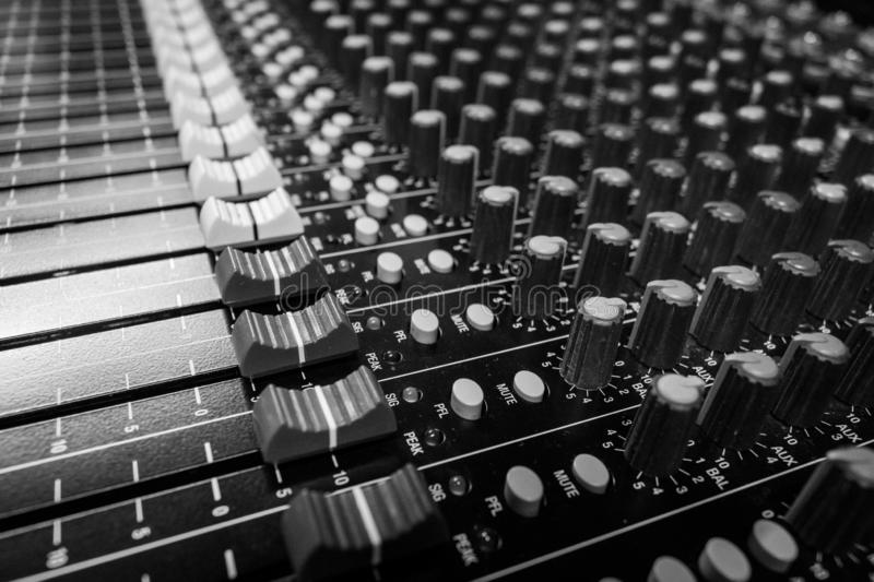 Side View Professional Audio Mixing Console royalty free stock images