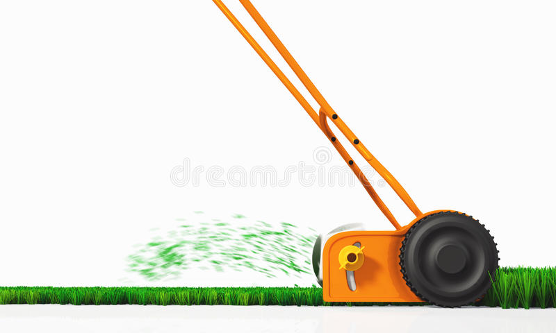 A side view of a push lawn mower at work. A side view of an orange push lawn mower in movement, that is cutting the grass along a straight strip of green lawn on vector illustration