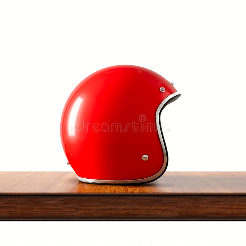 Side view of red color vintage style motorcycle helmet on natural wooden desk.Concept classic object isolated at white. Background.Square.3d rendering vector illustration