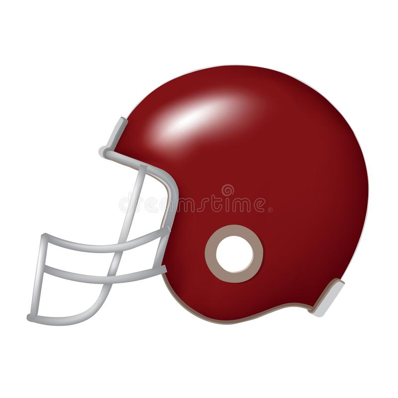 Side view of red football helmet. Side view of red vintage football helmet vector isolated on white vector illustration