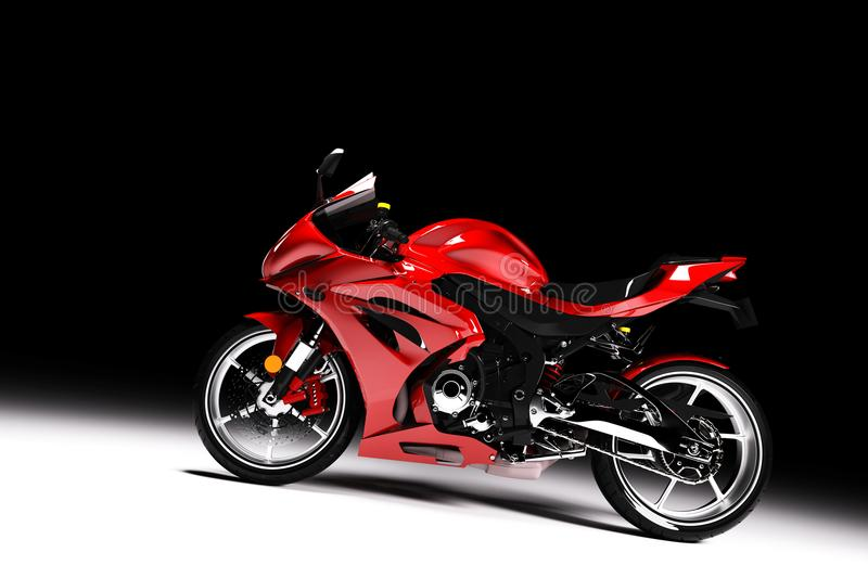 Side view of red sports motorcycle in a spotlight stock illustration