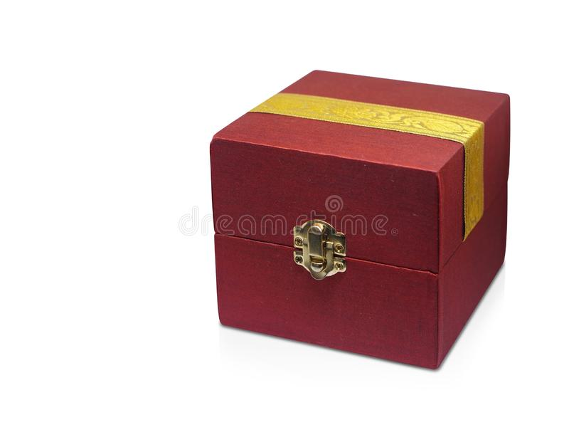 Side view Red and yellow fabric box on white background, object,modern,copy space. Side view Red and yellow fabric box on white background, object,modern,ancient royalty free stock image