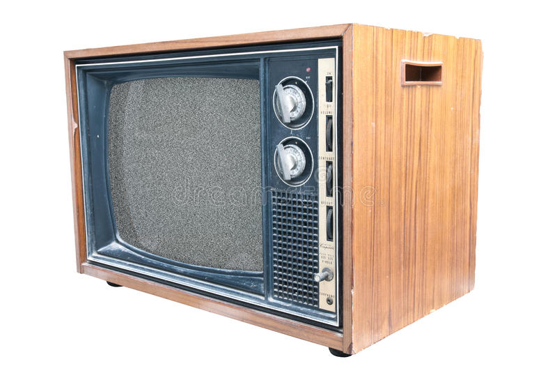 Side view of retro TV. A side view of an old retro TV set royalty free stock image