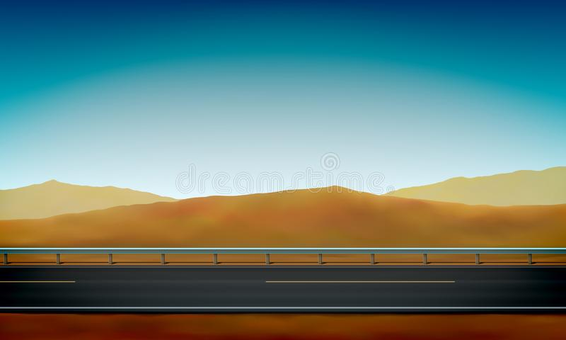 Side view of a road with a crash barrier, roadside, desert with sand dunes clear blue sky background, vector illustration. Side view of a road with a crash vector illustration