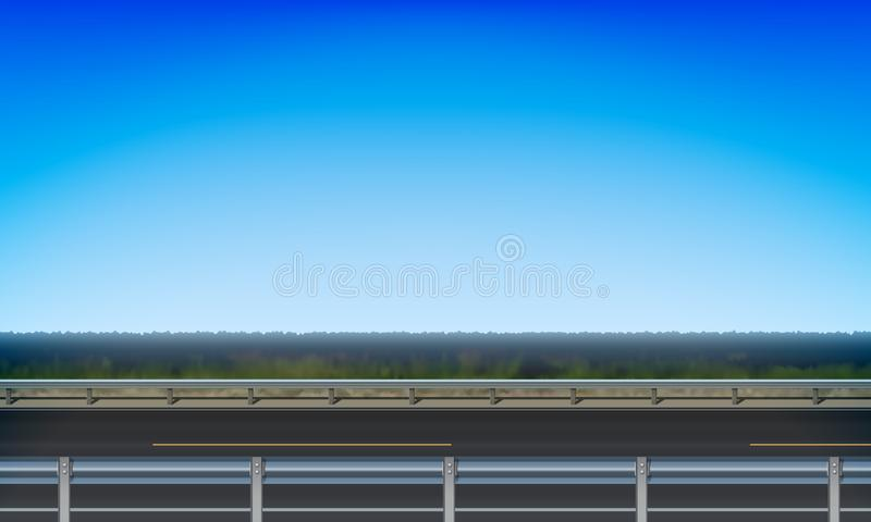Side view of a road with a crash barrier, roadside green meadow clear blue sky background, vector illustration. Side view of a road with a crash barrier vector illustration