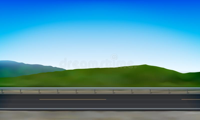 Side view of a road with crash barrier, roadside, green meadow in the hills and clear blue sky background, vector illustration. Side view of a road with a crash royalty free illustration