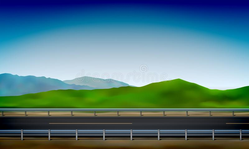 Side view of a road with a crash barrier, roadside, green meadow in the hills clear blue sky background, vector illustration. Side view of a road with a crash stock illustration
