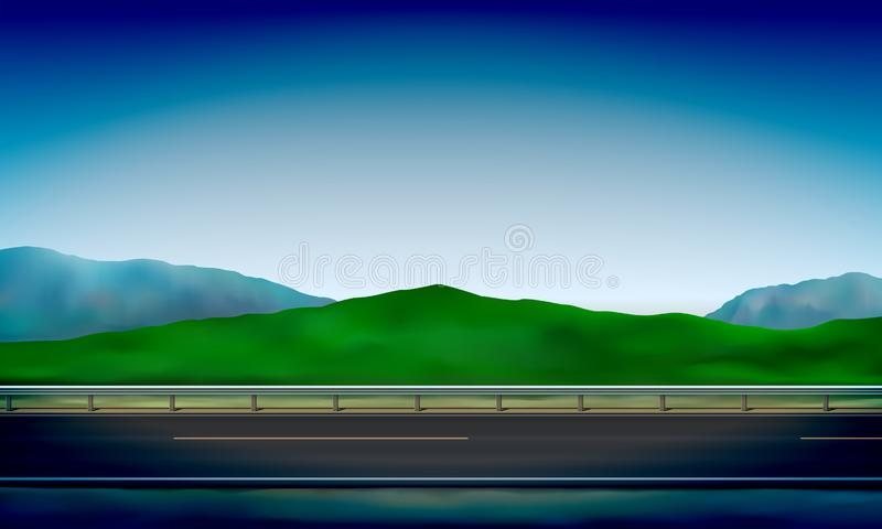 Side view of a road with a crash barrier, roadside, green meadow in the hills and clear blue sky background, vector. Illustration stock illustration