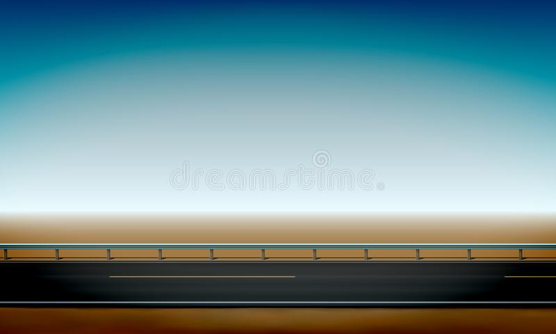 Side view of a road with a crash barrier, roadside, straight horizon desert and clear blue sky background vector illustration. Side view of a road with a crash royalty free illustration