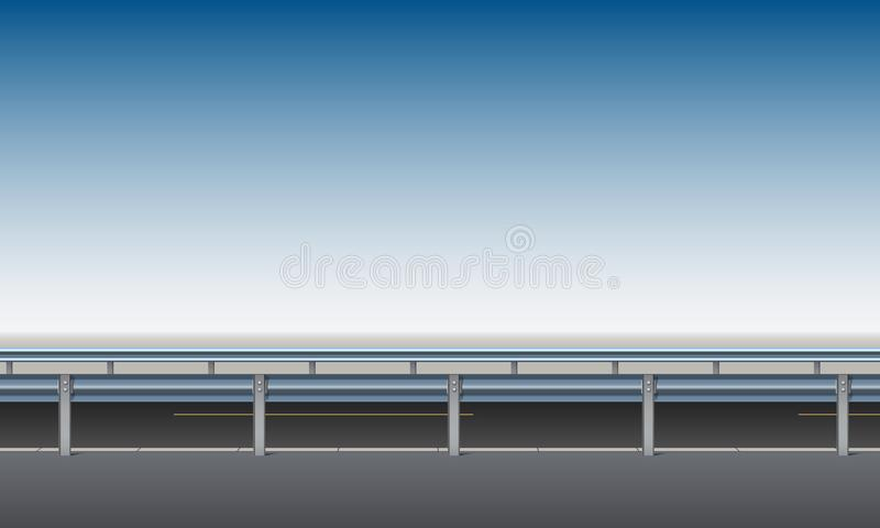 Side view of the road, overpass, bridge with a crash barrier, roadside, clear blue sky background, vector. Illustration vector illustration