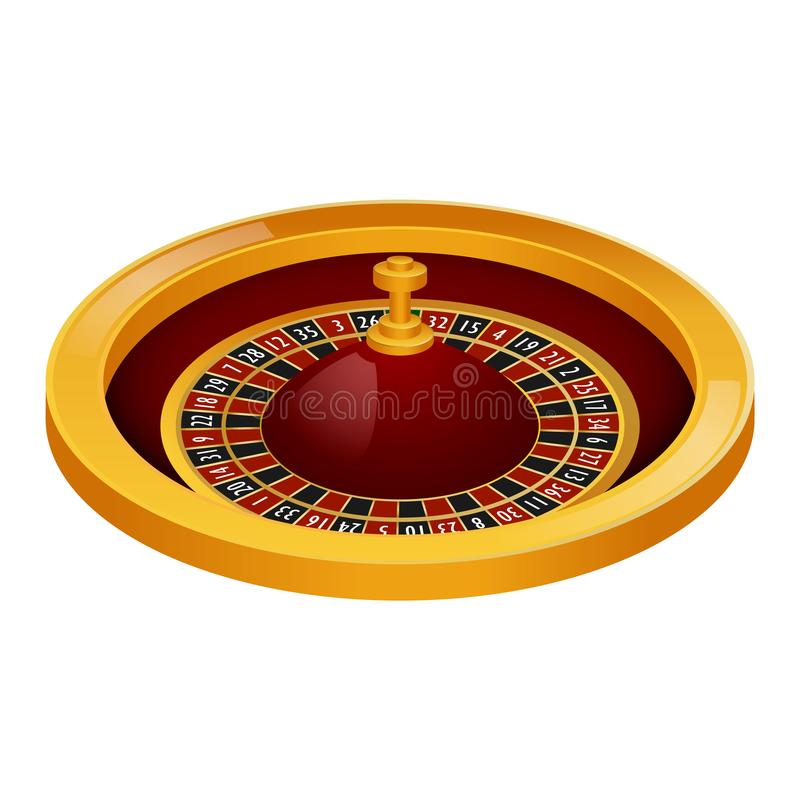 Side view roulette casino mockup, realistic style stock illustration