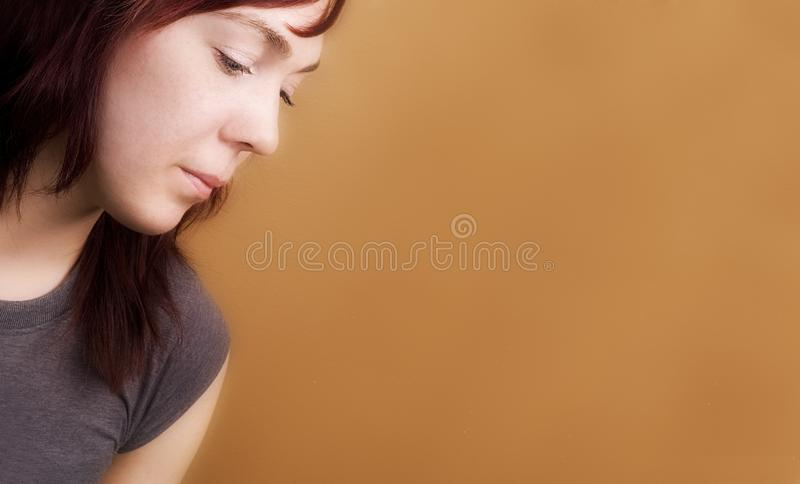 Side View Of A Sad Woman Stock Photo