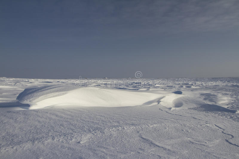 Side view of Sastrugi, wind carved ridges in the snow, near Arviat, Nunavut. Winter scene royalty free stock photography