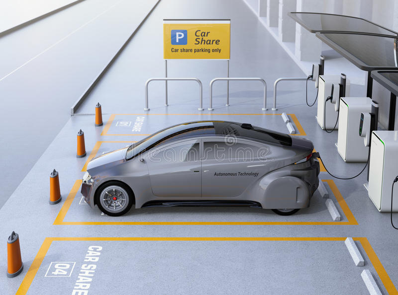 Side view of self driving car available for sharing stock illustration