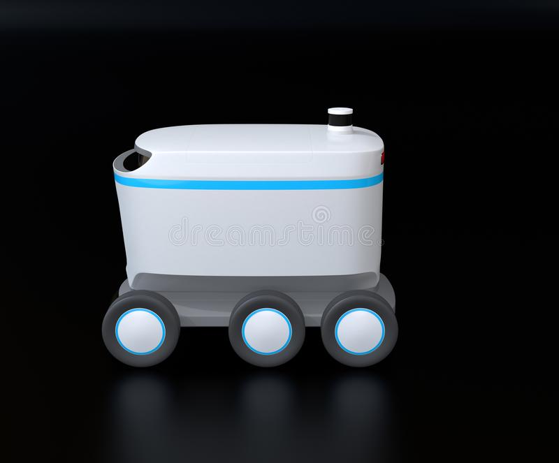 Side view of self-driving delivery robot on black background. 3D rendering image vector illustration