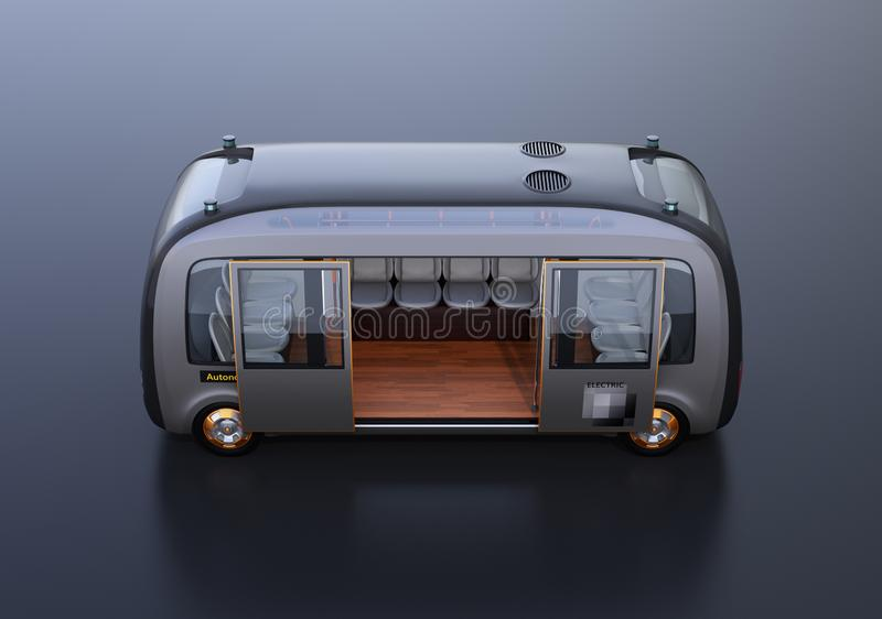 Side view of self-driving shuttle bus on black background vector illustration