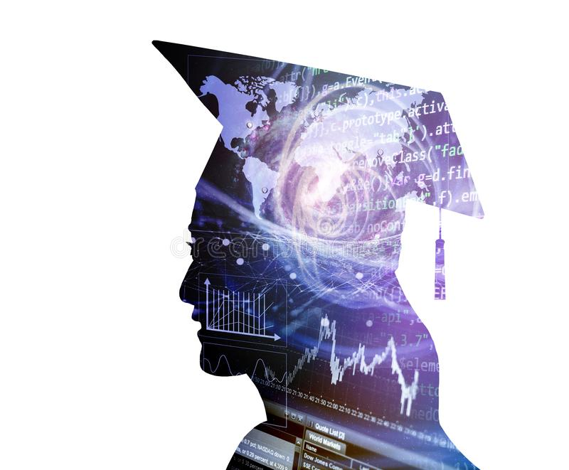 silhouette female graduation with business and technology concept stock image