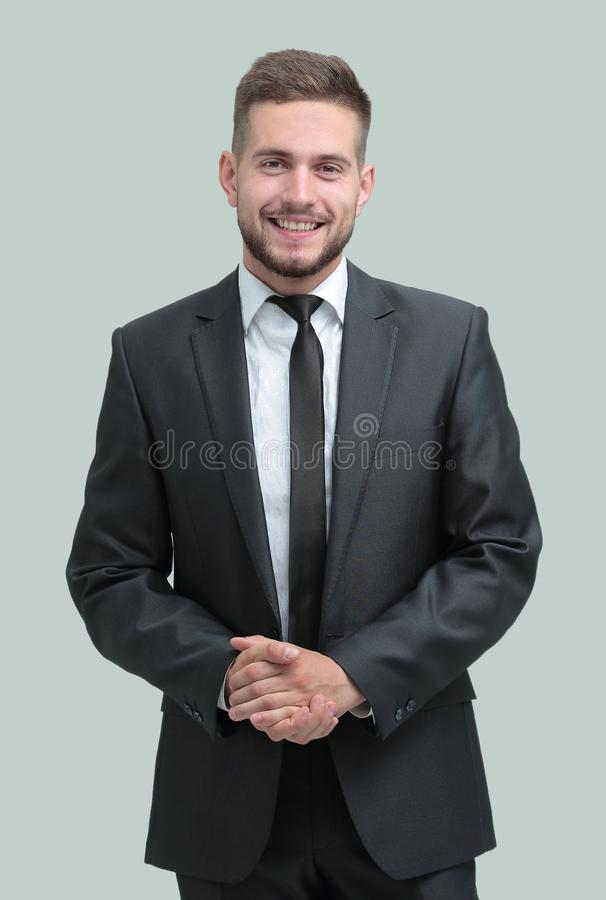 Side view.smiling businessman looking at the camera. Isolated on white background stock images