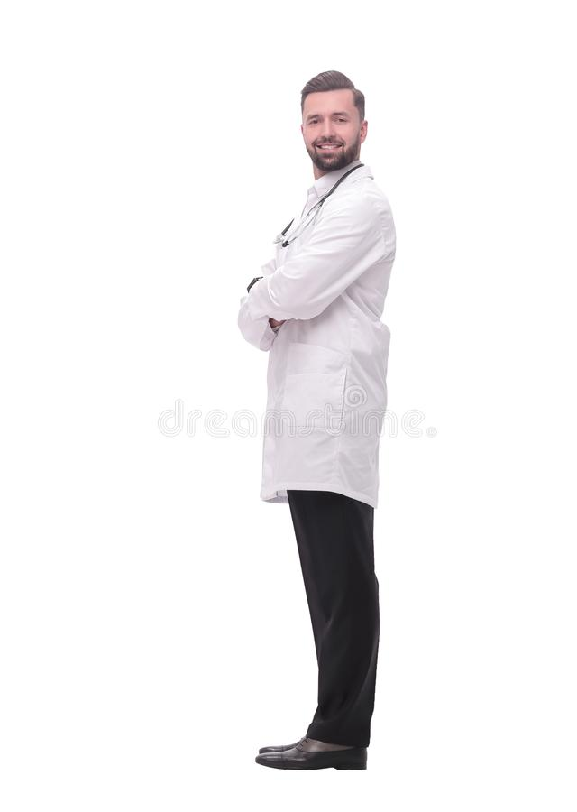 Side view. smiling medical doctor looking at copy space stock image