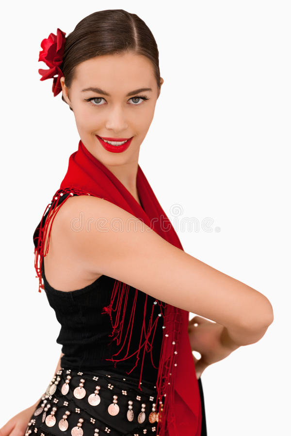 Download Side view of smiling woman stock image. Image of traditional - 25336399