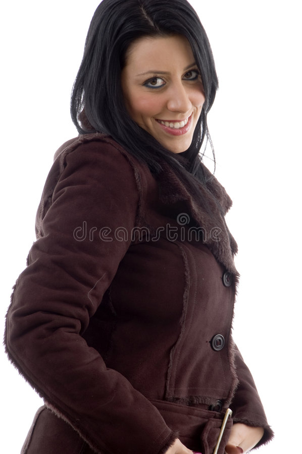 Side View Of Smiling Woman On White Background Royalty Free Stock Image