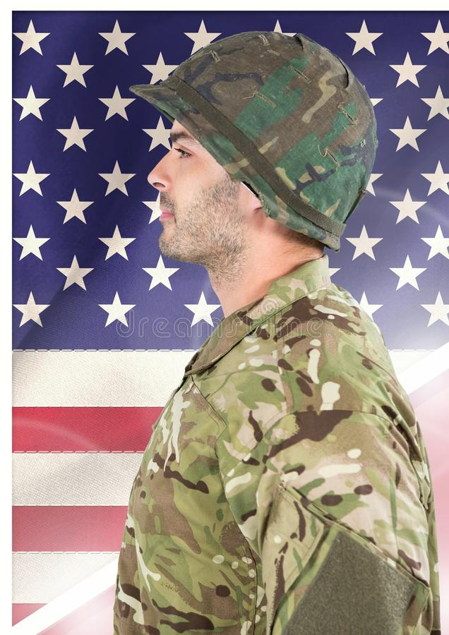 Side view of soldier in front of american flag vector illustration
