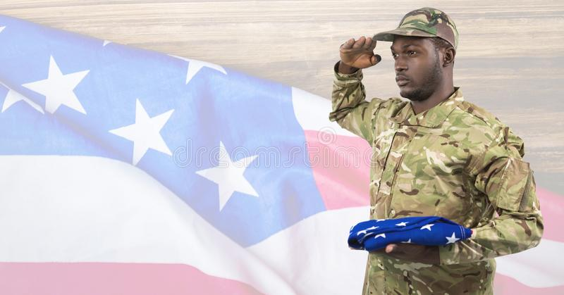 Side view of soldier holding an american flag in front of american background royalty free illustration