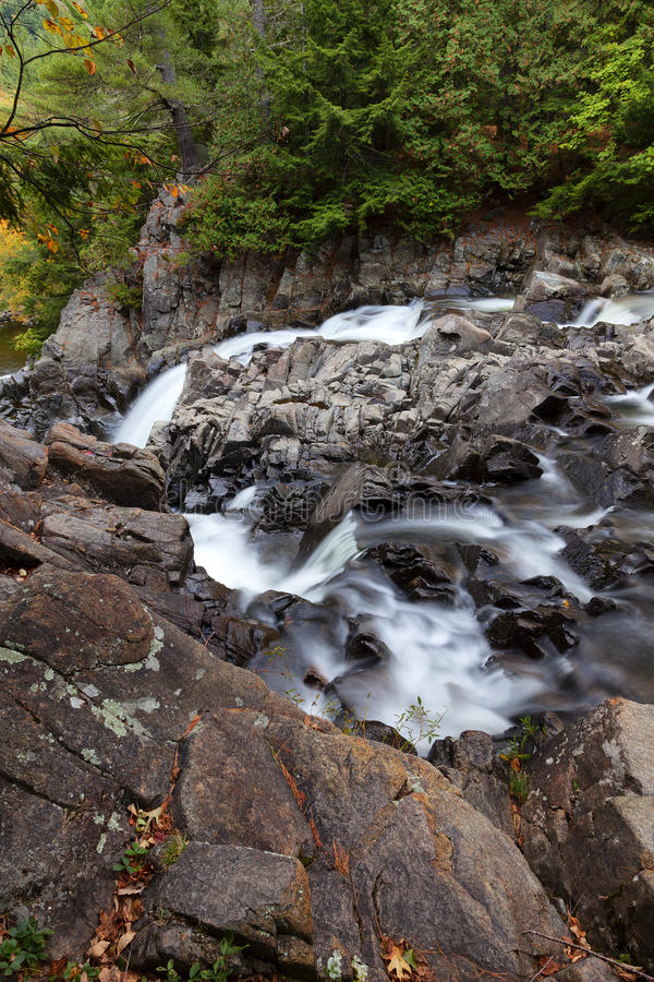 Side View of Split Rock Falls. In adirondacks royalty free stock photography