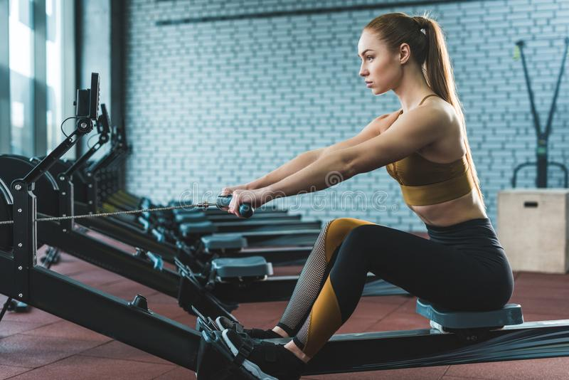 Side view of sportswoman doing exercise on rowing machine. In sports center royalty free stock photo